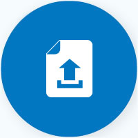 Capfin document upload on blue background icon